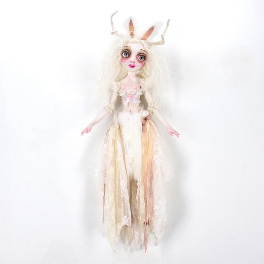 """Sheri Debow     Jaqueline Jackelope, Bride of the Forest     9"""" x 6"""" x 5""""Handmade Doll, Polymer Clay, Acrylic, New and Vintage Fabrics     $835"""