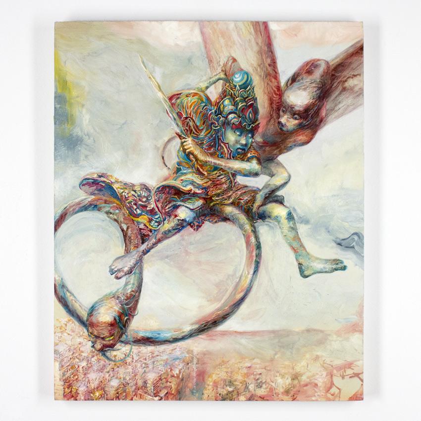 Apolo Cacho    El androideadolescente   Oil on panel  56 x 46 cm // 22 x 18 Inches   $1,000