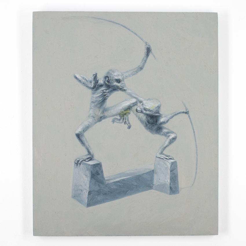 Apolo Cacho    Two Monkeys   Oil on panel  56 x 46 cm // 22 x 18 Inches   $1,000
