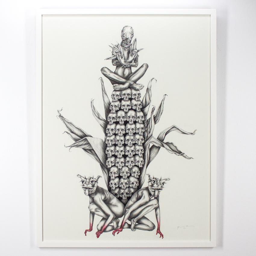 Mariana    Villanueva   Centéotl   Graphite oncotton paper 102 x 76  cm// 40 x 30inches   SOLD