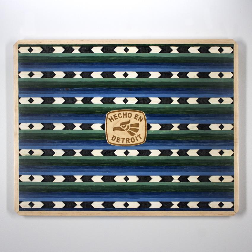 "Alonso ""Chivo"" Guzman  3D Walnut Satined Pine 50 x 76 cm // 20x 3 inches $400"