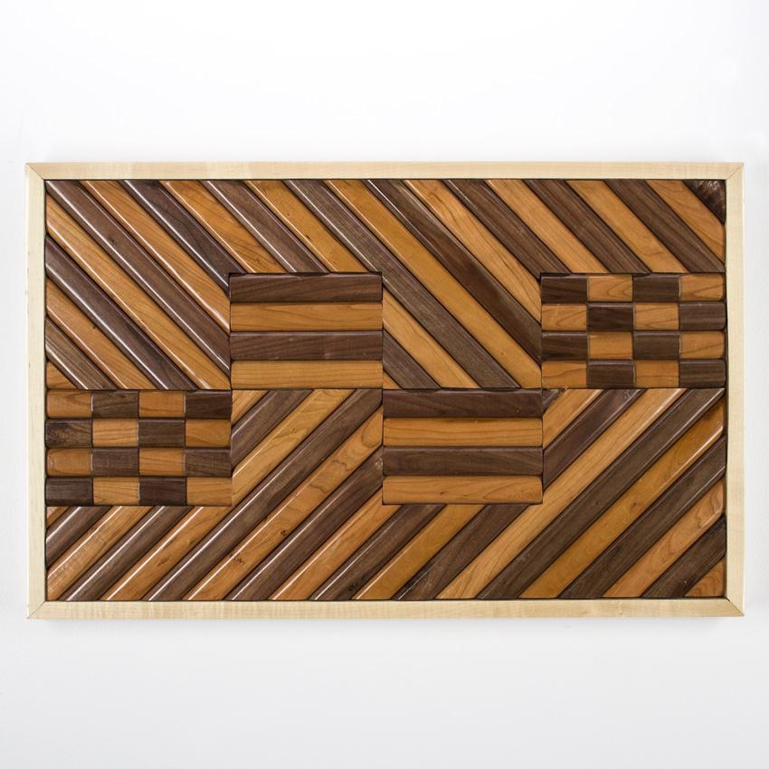 "Alonso ""Chivo"" Guzman    Wooden Serape   Satined Pine and Maple96 x 76cm //  30  x 38   inches $600"
