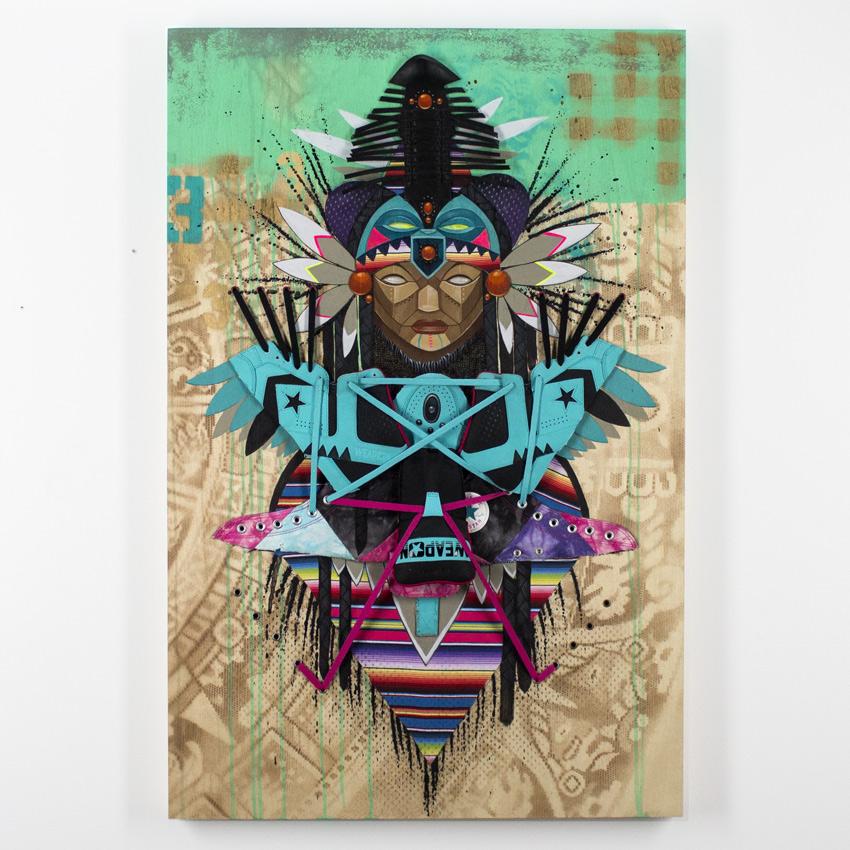 Marka27    Levitation Acrylic & Aerosol on Wood Panel with Laces & Leather Textile 91.5 x 60 cm // 24 x 36 inches $3000