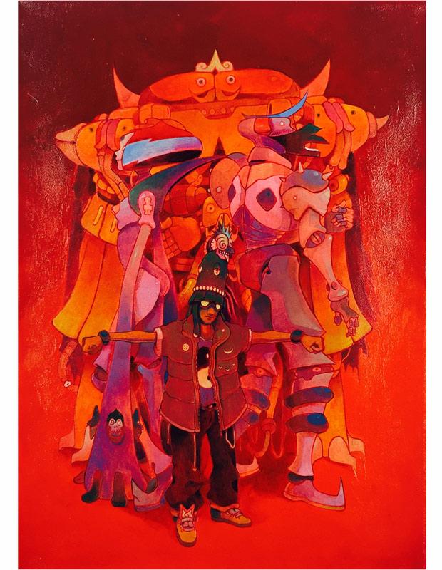 Jesús Benítez    Demian Pulex y la Banda de la Coatlicue#1   Mixe Media on Canvas 50 x 70 cm //20 x 27.5 inches   $1,600