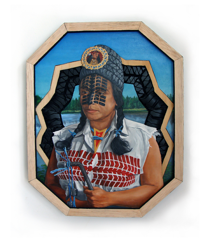 Peter Adamyan Honoring Chief Pontiac 16 x 20 Inches Oil on wood with found wood and car tire assemblage $800