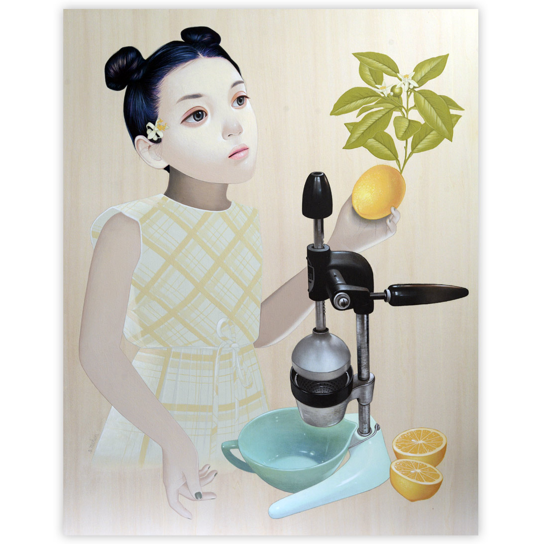 Sean Mahan Girl and Juicer 16 x 20 Inches Acrylic on wood panel  SOLD
