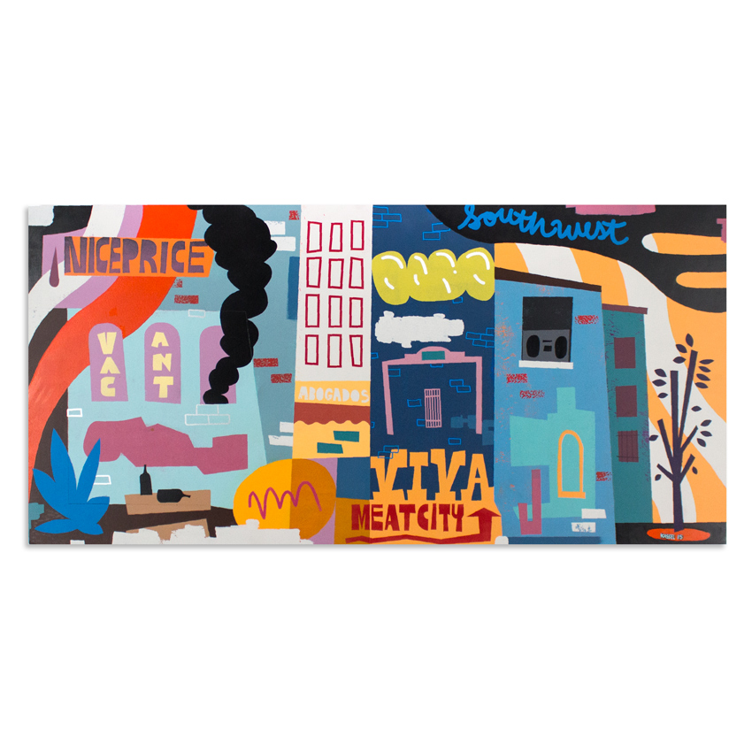 4. Jesse Kassel Viva Meat City 48x24 Acrylic on Wood Panel $1,200 -  Inquire Via Email  - Purchase directly on 1xRUN