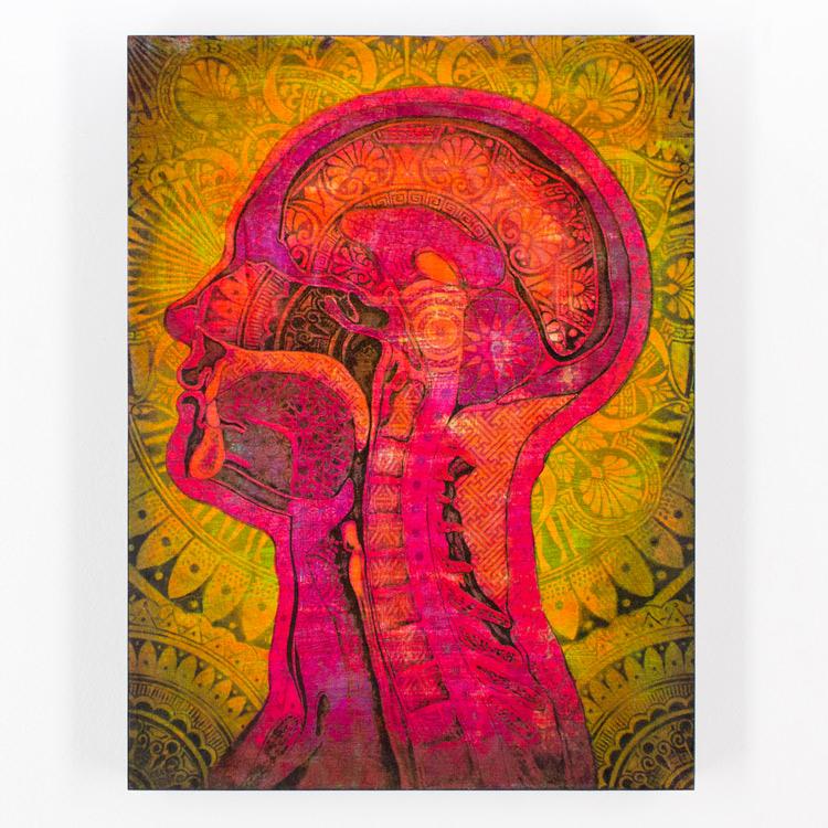 8. Beau Stanton Ornamented Man Purple/Yellow 12x16 Mixed Media & Screen Print On Cradled Wood Panel SOLD