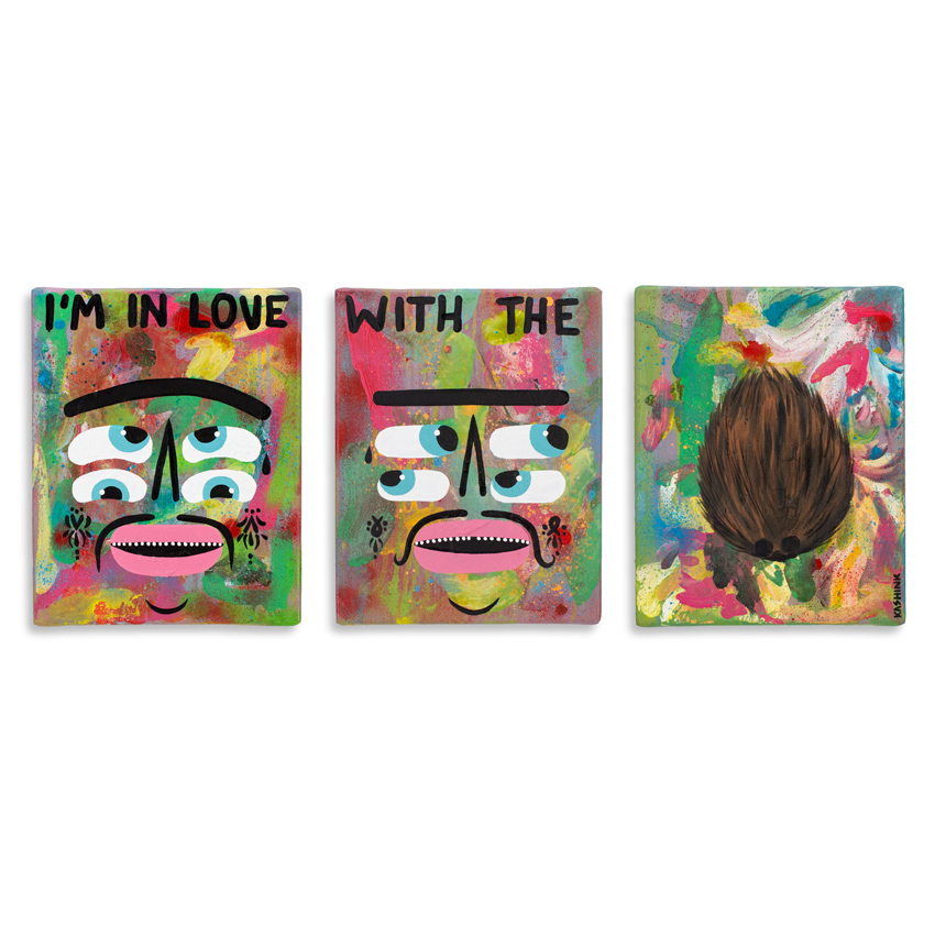 11. Kashink I'm In Love With The Coco. (Tryptic) 9.5x12 Acrylic on Cradled Canvas gallery Wrap $850 -  Inquire  - Purchase directly on 1xRUN