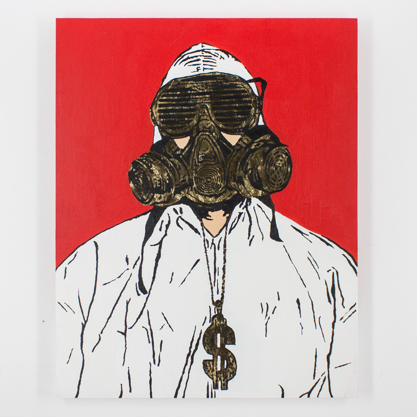 22. Hygienic Dress League Male Extractor 24x30 Acrylic & Gold Leaf on Cradled Wood SOLD