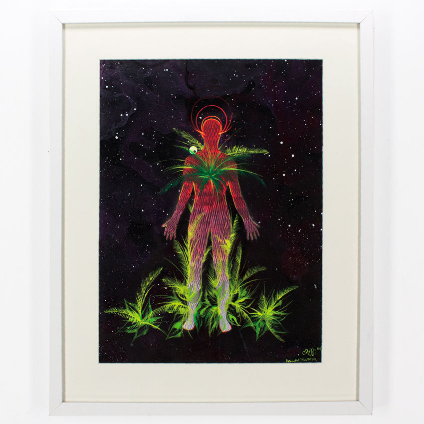 """35. Hannah Stouffer Internal Energy (the one of the body) 11x14"""" - 17x20 Framed Ink and gouache on paper $650 -  Inquire  - Purchase directly on 1xRUN"""