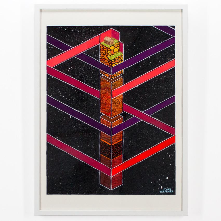 49. Jonny Alexander The Pillar 21.5x25 Screen Print, Acrylic, and Ink on Bristol $300 -  Inquire  - Purchase directly on 1xRUN