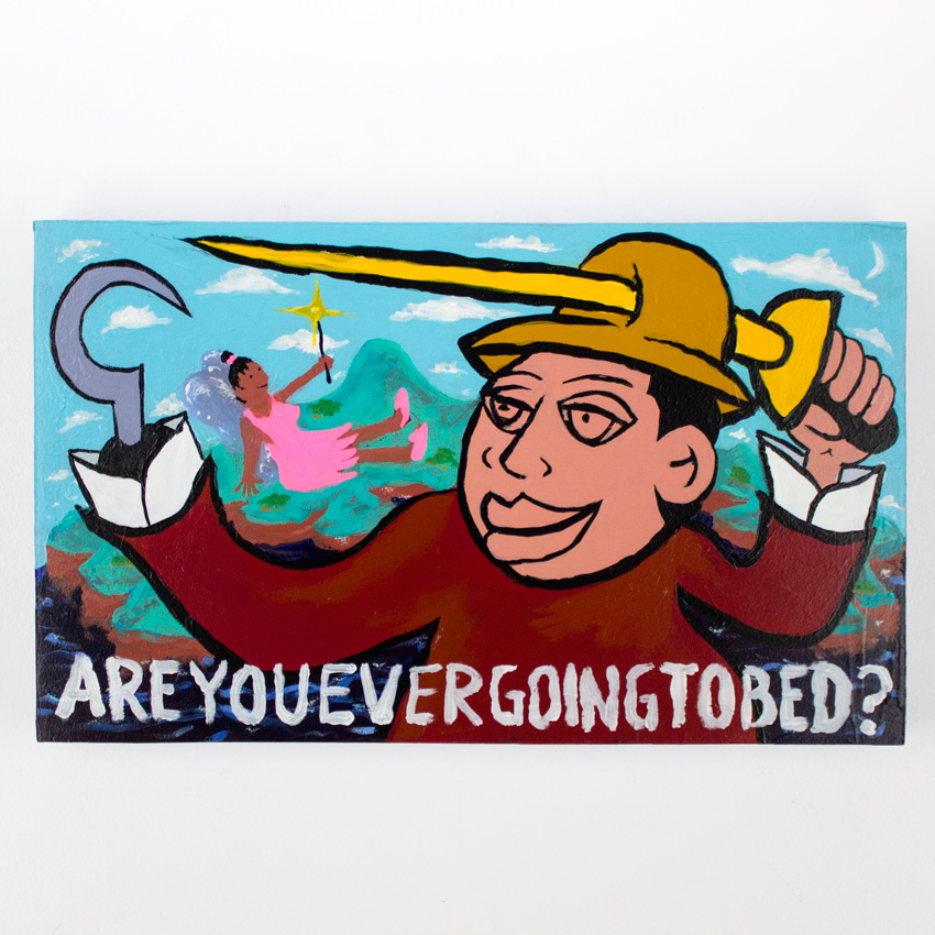 62. Zak Meers Are You Ever Going To Bed 20x12 Acrylic on wood panel $600 -  Inquire  - Purchase directly on 1xRUN