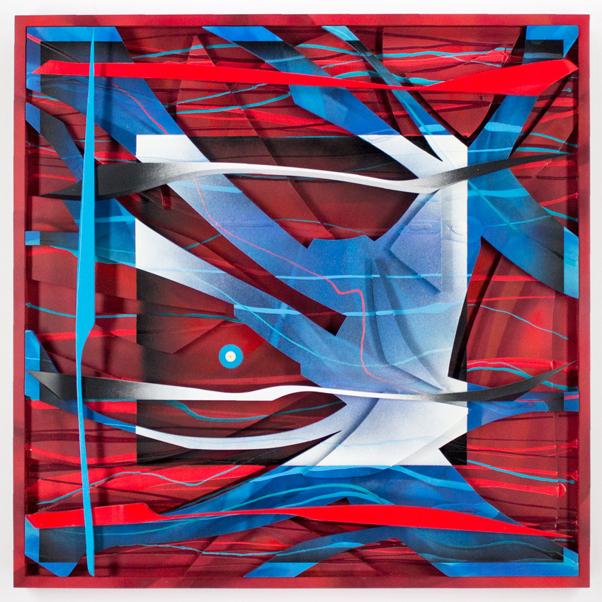 31.Kwest Praxis Of Confusion - Red Acrylic & Cut Wood Assemblage $3,500 -  Inquire  - Purchase directly on 1xRUN