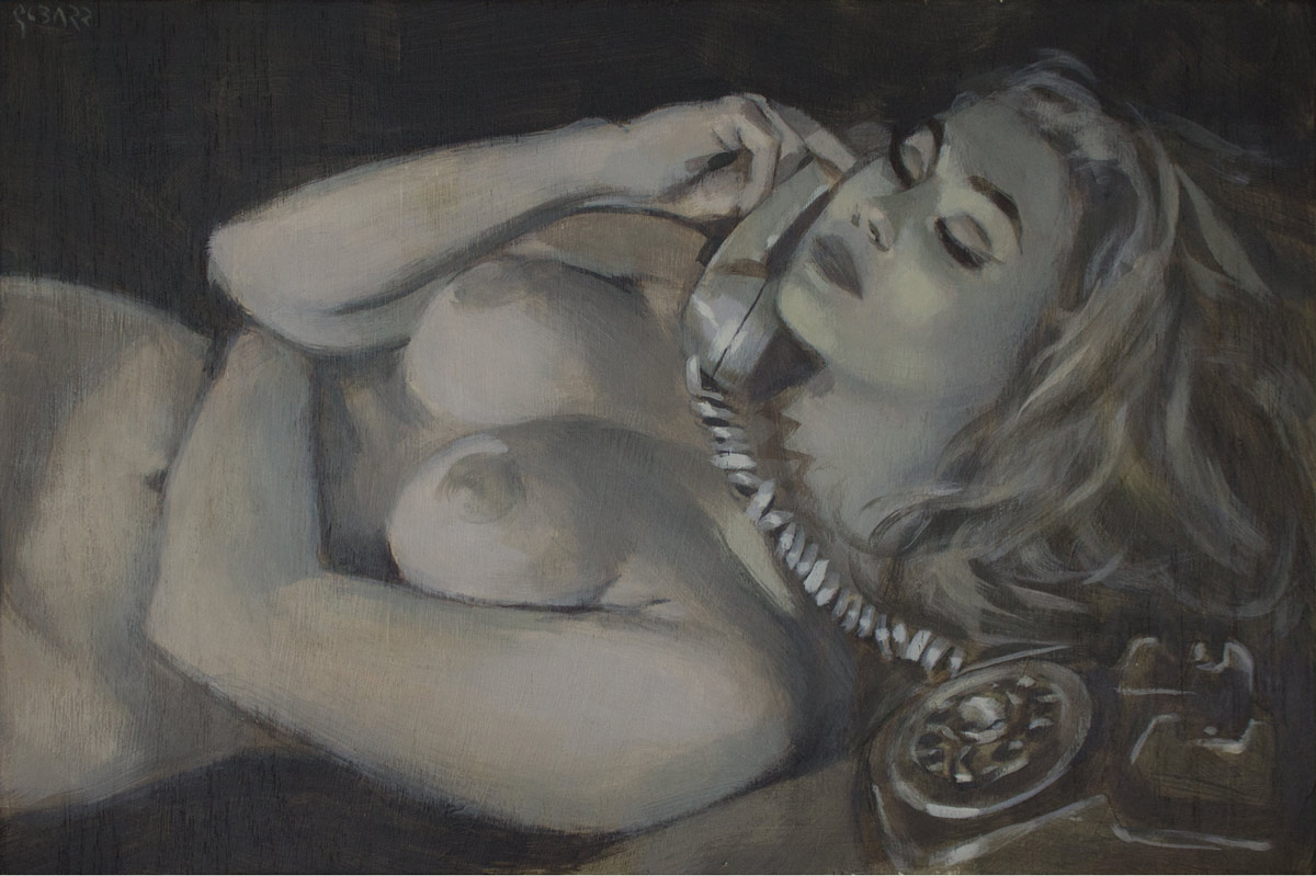Glenn Barr   Naked Stories   Acrylic on Cradled Wood Panel  18 x 12 x 2 Inches    SOLD