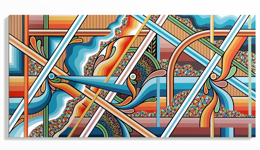 Brad Eastman Converge - A Topographic Abstraction of the Pilbara (2015) 47.25 x 23.4 x 2 Inches Acrylic, ink, and satin varnish on mounted Plywood  SOLD