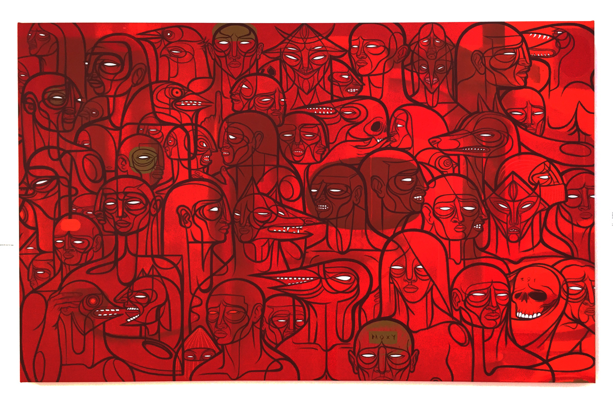 "Doze Green Dog's of War (2015) 86"" x 52"" Acrylic on Canvas SOLD"