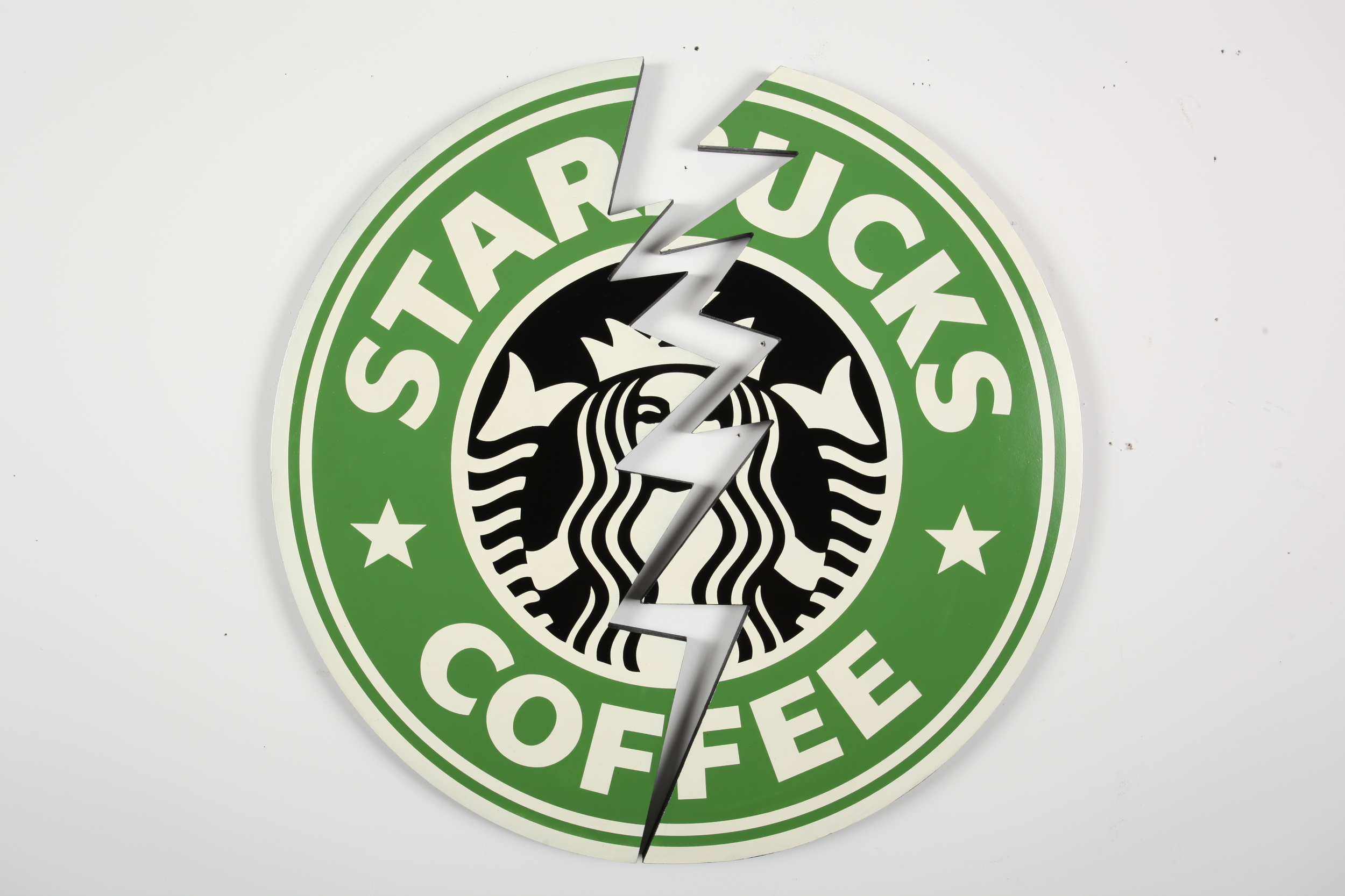 "Starbucks Crack  48"" x 48"" x 3"" Inch  Aerosol Stencil on Contour Cut Mounted Birch Plywood $1500"