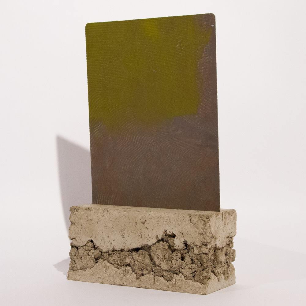 "74-b Series   8"" x 14"" x 4"" Acid on Zinc Plate with Concrete Mount $1,700"