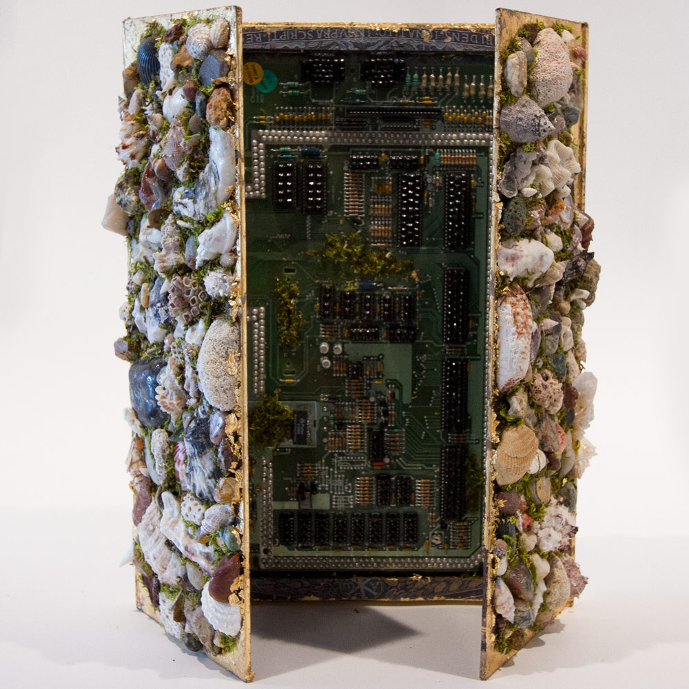 """The Mirror 16"""" x 12"""" x 3"""" Mixed Media on Found Book  $1,200"""