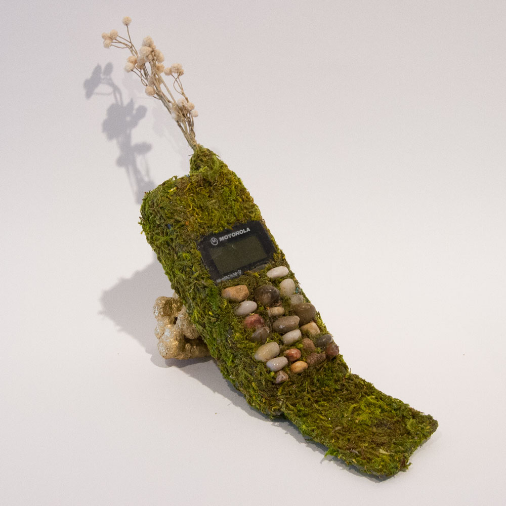 """Unspoken Feelings are Unforgettable 5"""" x 12"""" x 3"""" Mixed Media on Found Cell Phone  $275"""