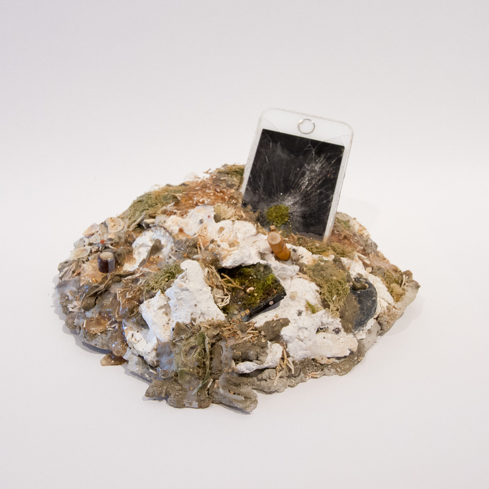 """But You Can't Use My Phone  8"""" x 7"""" x 3"""" Concrete, Acrylic, Seaweed, Wax, Cell Phone Battery, iPhone $215"""