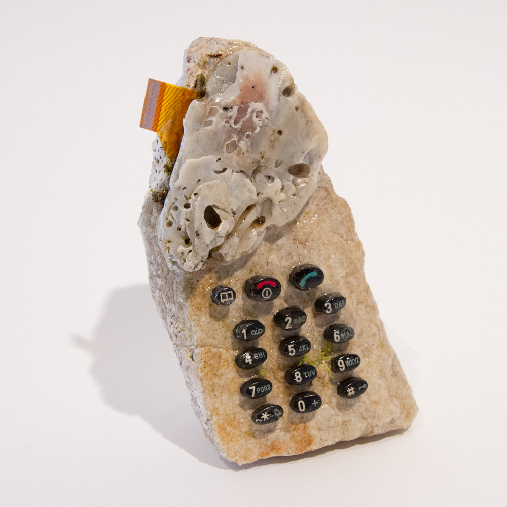 """You Used to Call Me on My Rock Phone  4.5"""" x 2.5"""" x 1.5"""" Mixed Media $99.99"""