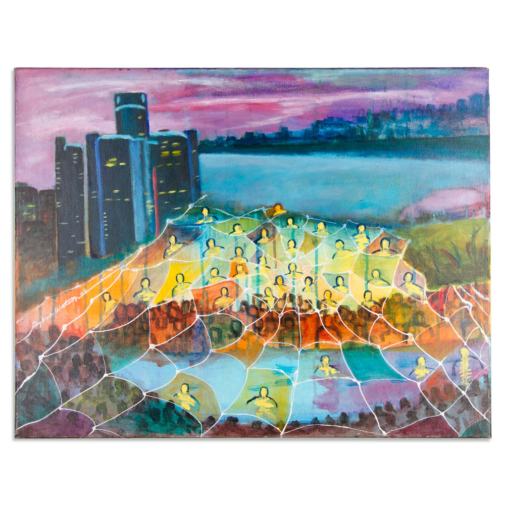 """Detroit Caught Up In A Web 28"""" x 22"""" Acrylic on Canvas $500"""