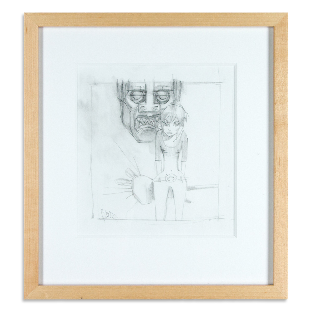 """Woman in Front of Robot Study  14"""" x 15"""" Graphite on Paper  $500"""
