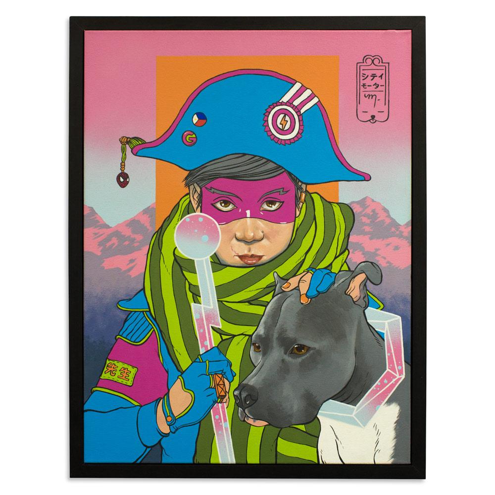 """L'Kaiser & Omar 18"""" x 24"""" Acrylic and Spray Paint  $700"""