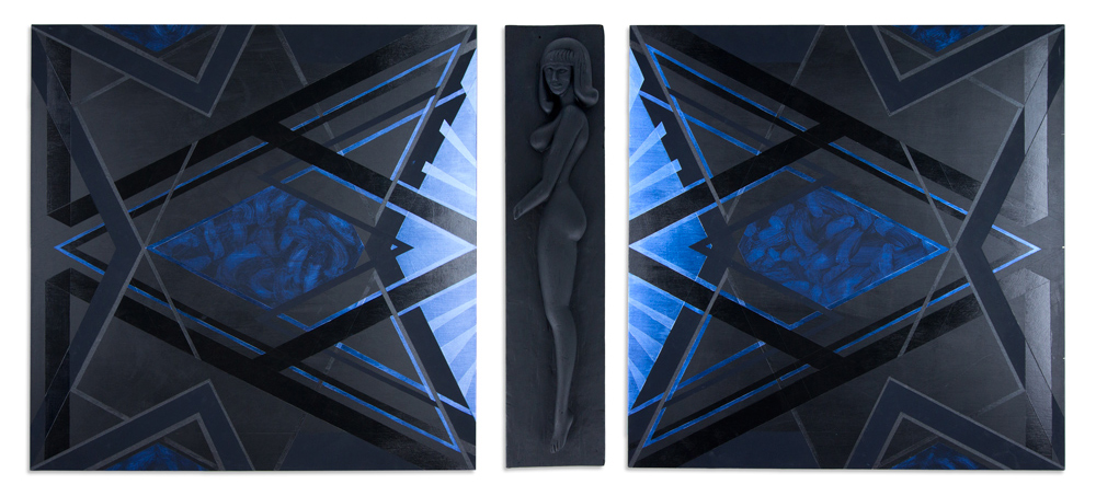 """Modern Woman of Willendorf - Tryptych 54"""" x 72"""" Flashe and Acrylic on Wood Panel and Found Wooden Object $2,400"""