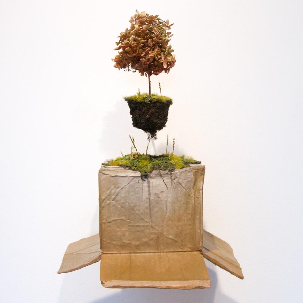 """Next World 20"""" x 13"""" x 13"""" Cast Resin, Carpet Fiber, Paint, Plant Material $1,600"""