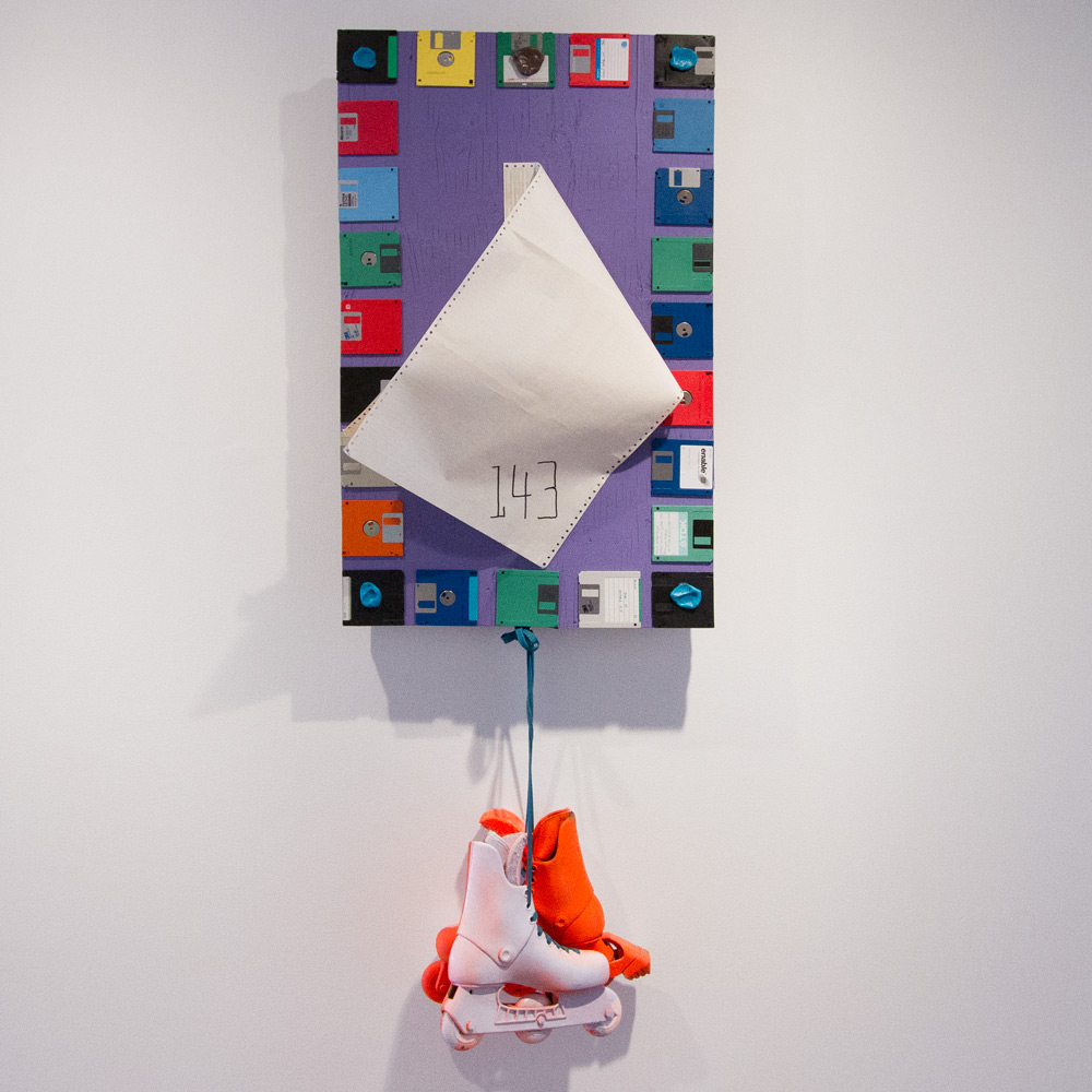 """That Place I Put That Thing That Time 64"""" x 22.5"""" x 7"""" Wood, Acrylic, Floppy Discs, Dot Matrix Paper, Rollerblades, Gum $1,001"""
