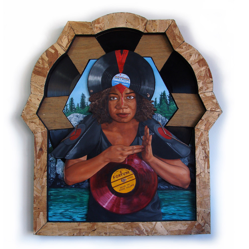 """LP Shaman 21"""" x 27"""" Oil on Masonite with Found Wood and Vinyl Record Assemblage $950"""
