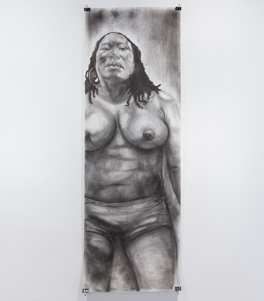 """She 21"""" x 66"""" Graphite on Watercolor Paper $1,175"""