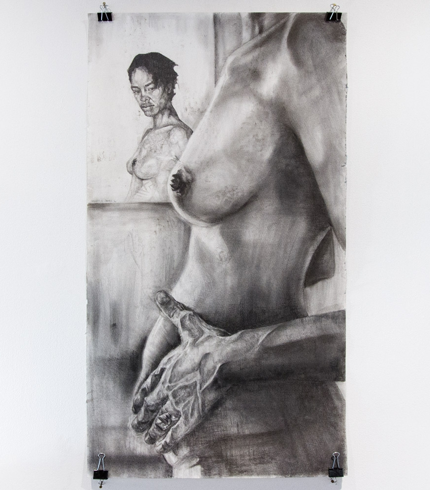 """Maternal Relection 23"""" x 45"""" Graphite on Watercolor Paper $975"""