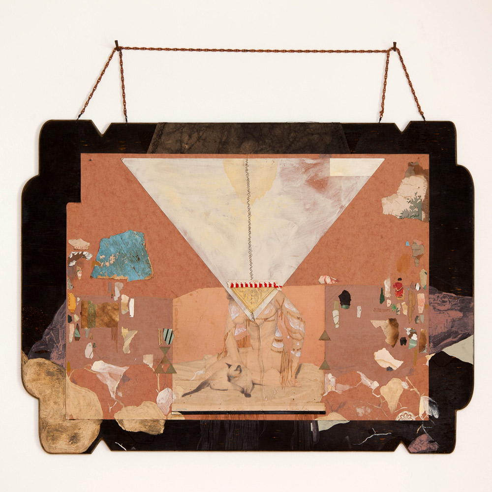"""Affection  25.75"""" x 19"""" Hand Printed Found Antique Wall Paper from Abandoned Houses in Detroit, Vintage Pin Up, Mixed Media on Folder, Copper Chain, and Thread Mounted on Hard Cut Burned Board with Spray Paint and Metal $3,500"""
