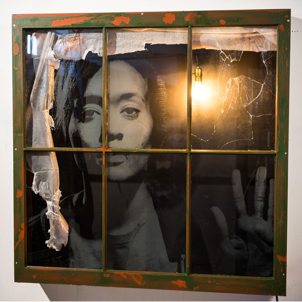 """Quae Derelicta  48"""" x 47.5""""Mixed media, Chemically Etched Glass, Found Window, and Light $4,500"""