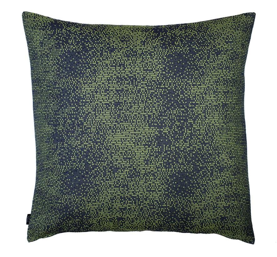 Silicium dark green - floor cushion 86 x 86 cm     front side: wool 95% silk 5%    back side: grey coton 80% polyester 20%