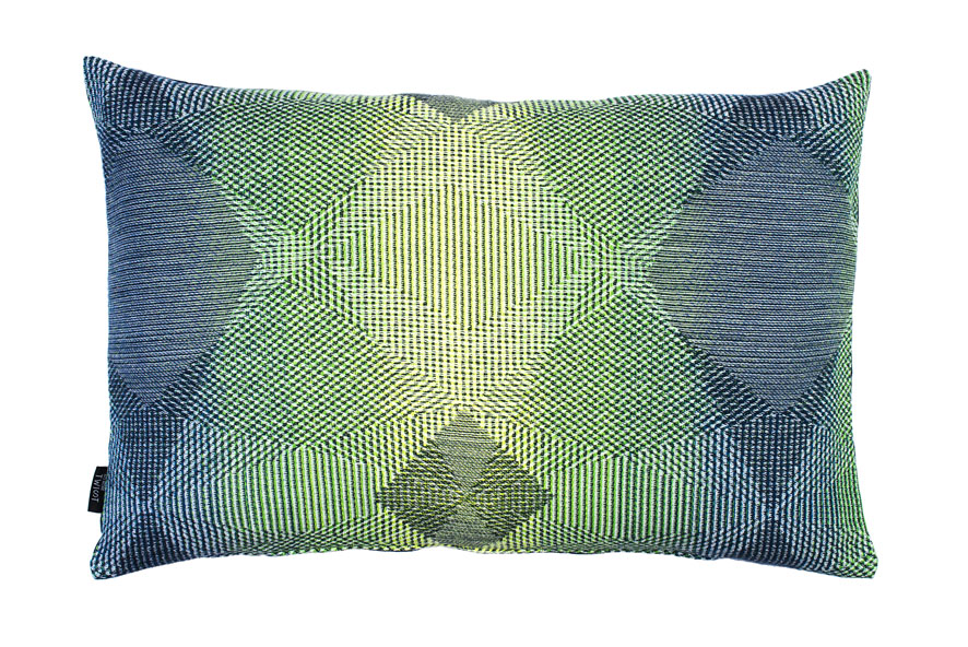 Lepidoptera fluo green - Cushion      45 x 70 cm       front side:    wool 95% silk 5%     back side: navy blue linen 100%