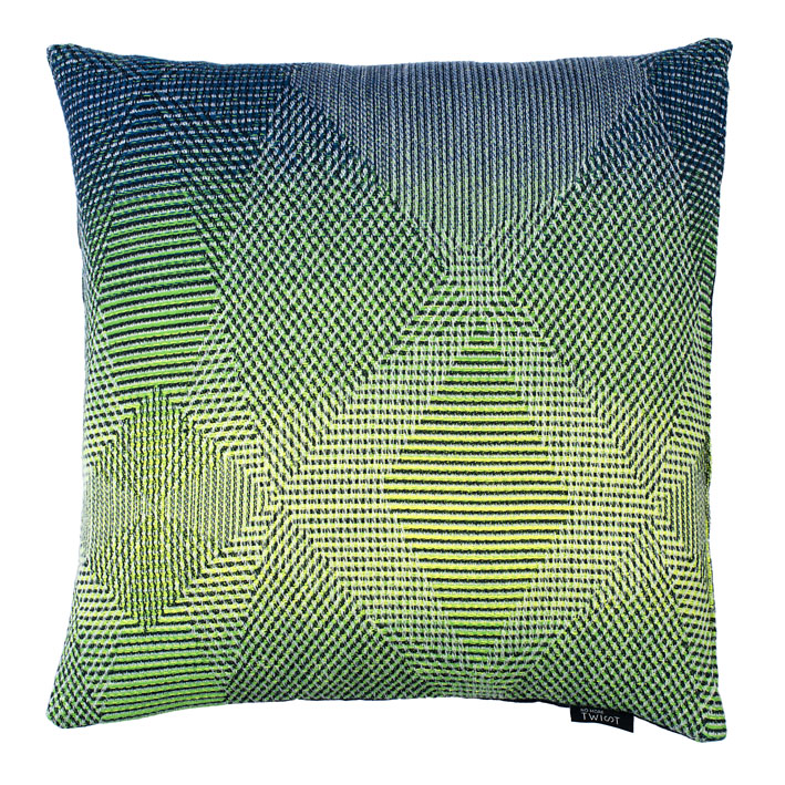 Lepidoptera fluo green - Cushion     45 x 45 cm       front side:   wool 95% silk 5%    back side: navy blue linen 100%