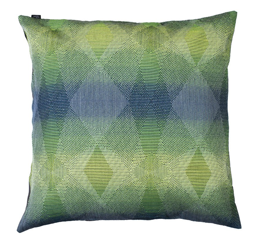 Lepidoptera fluo green - Floor cushion       90 x 90 cm       front side:    wool 95% silk 5%     back side: grey coton 80% polyester 20%