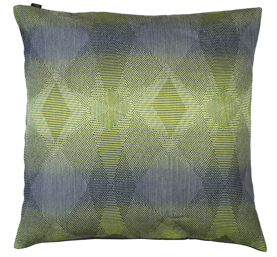 Lepidoptera lemon - Floor cushion       90 x 90 cm       front side:    wool 95% silk 5%     back side: grey coton 80% polyester 20%