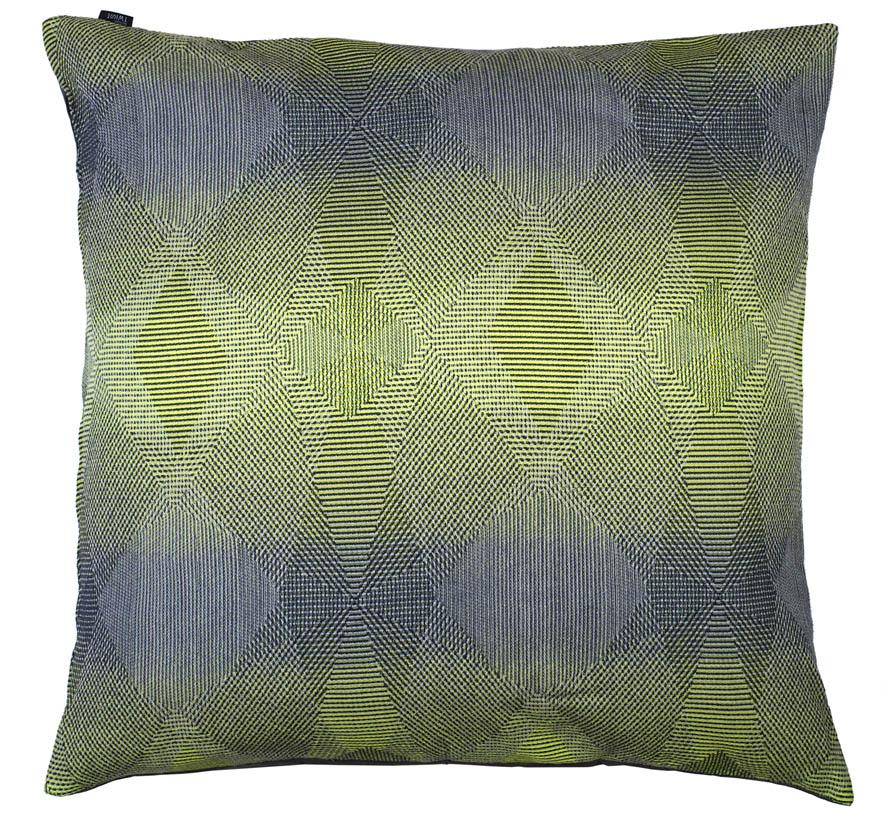 Lepidoptera lemon -Floor cushion      90 x 90 cm       front side:    wool 95% silk 5%    back side: grey coton 80% polyester 20%