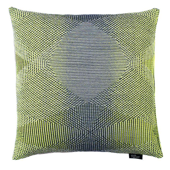 Lepidoptera lemon - Cushion      45 x 45 cm        front side:    wool 95% silk 5%     back side: light grey linen 100%