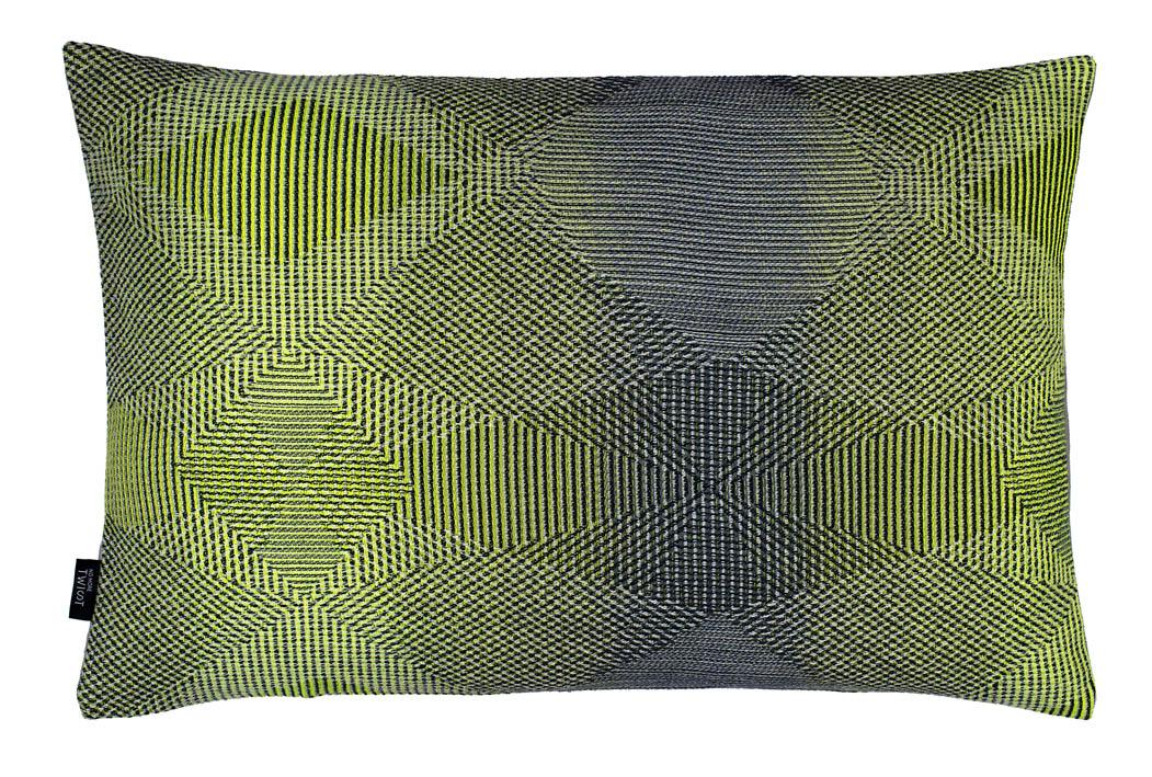 Lepidoptera lemon - Cushion     45 x 70 cm       front side:    wool 95% silk 5%    back side: light grey linen 100%