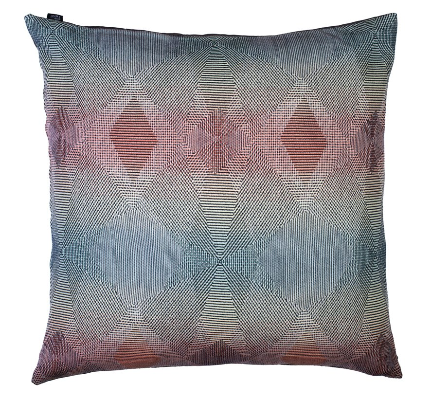 Lepidoptera pastel - floor cushion       90 x 90 cm       front side:    wool 95% silk 5%     back side: grey coton 80% polyester 20%