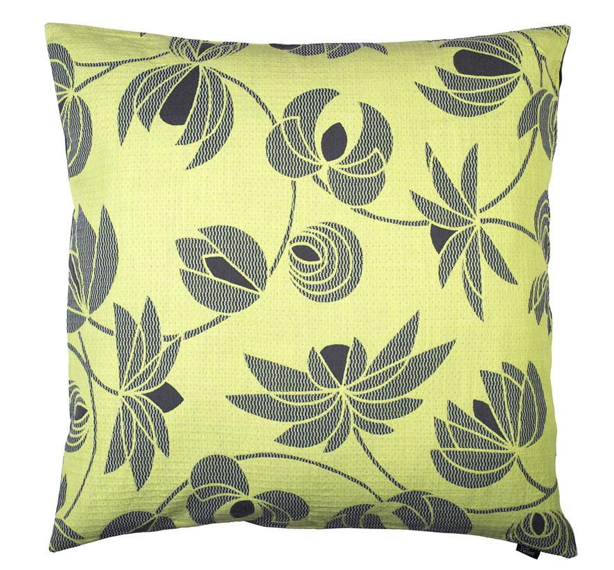 Volubilis lemon -Floor cushion     90 x 90 cm       front side:   wool 96% silk 4%    back side: grey coton 80% polyester 20%