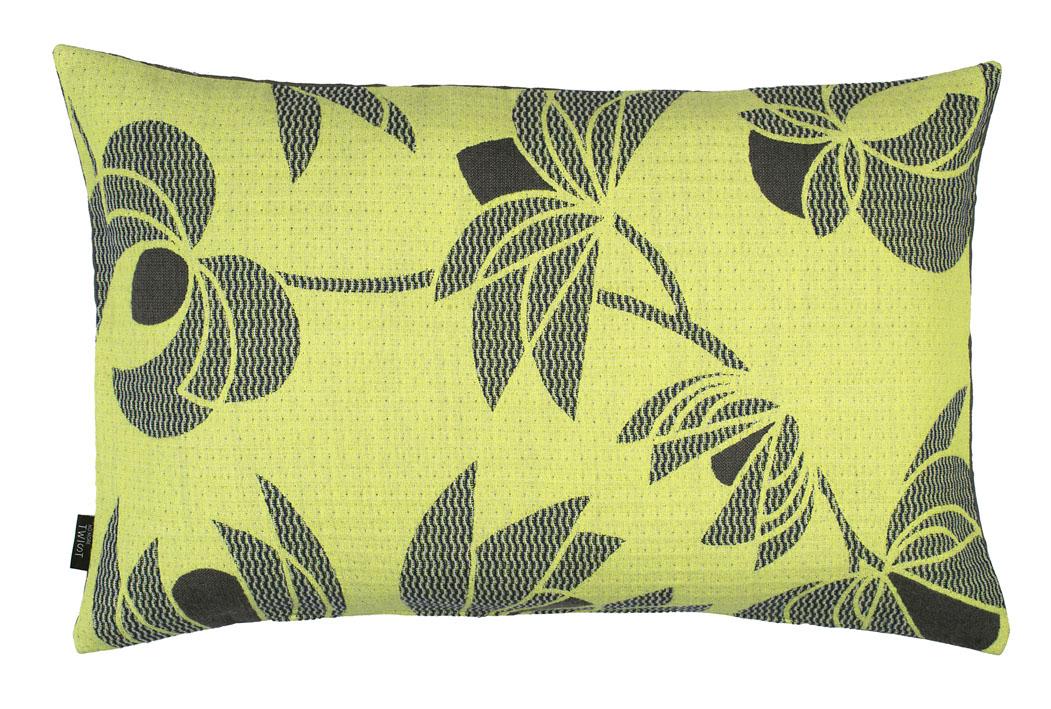 Volubilis lemon - cushion     45 x 70 cm       front side:   wool 96% silk 4%    back side: light grey linen 100%