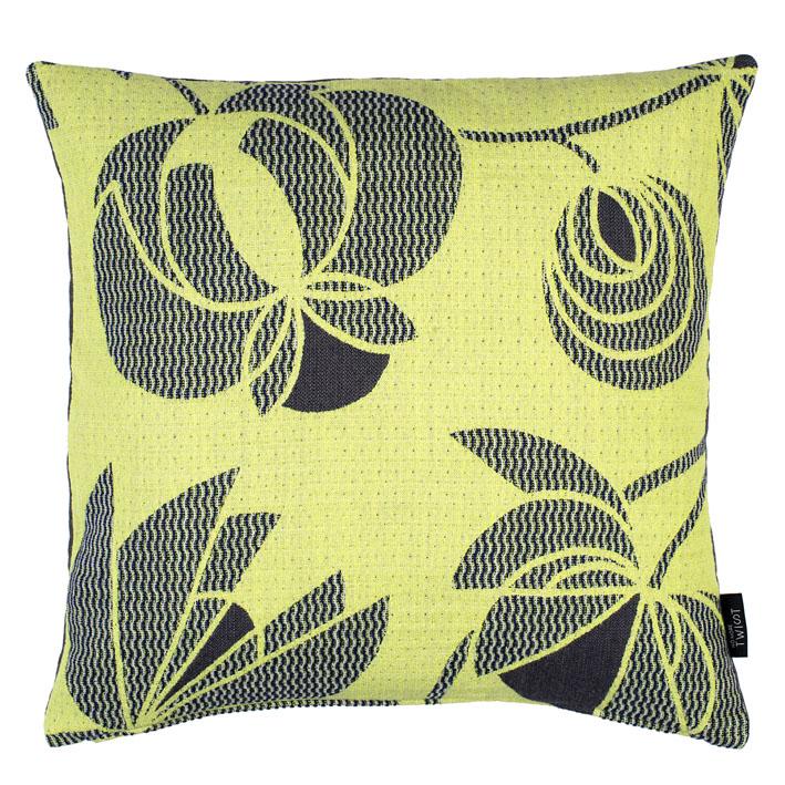 Volubilis lemon - cushion     45 x 45 cm       front side:   wool 96% silk 4%    back side: light grey linen 100%